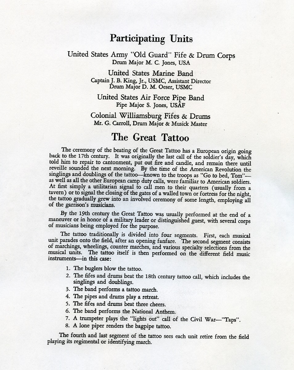 Chapter 5 The Colonial Williamsburg Fifes And Drums Alumni Association Rope Tension Parts Diagram Cooperman Fife 1967 Program For Great Tattoo On Mall Wash Dc In Which Cwfd Tog Marched Performed Together
